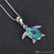whole retro 925 sterling silver filled animal choker blue fire opal turtle pendants for women lake blue zircon necklace diamond circle pendant necklace