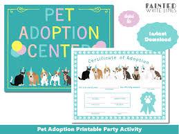 Pet Adoption Certificate Template Printable Party Supplies Gifts Printable Pet Adoption