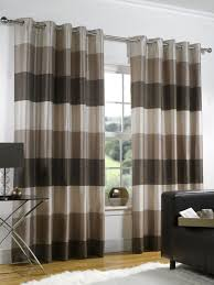 Cozy Modern Curtain Ideas for Living Room : Eyelet Curtains Ideas For  Living Room-shades of brown stripes