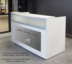 rectangular white reception desk w frosted glass panel