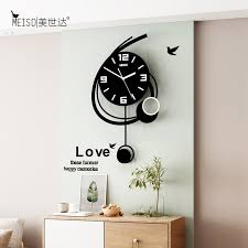 creative number 6 swingable wall clock