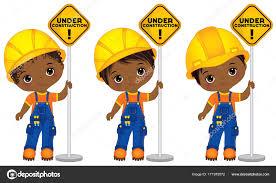 ベクトルかわいい小さなアフリカ系アメリカ人男の子を工事中の看板を保持