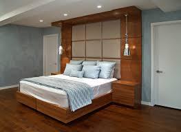 Modern wooden built in headboards with hardwood floors