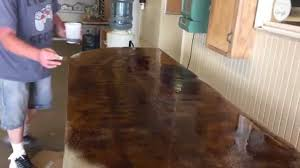 Concrete Countertop Over Laminate Applying Concrete Acid Stain To An Overlay Countertop Youtube
