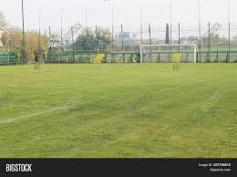 grass soccer field with goal. Soccer Field With Goal Posts And Light Poles Grass