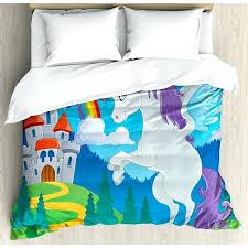 kids decor king size duvet cover set fantasy myth unicorn with rainbow and meval castle asda