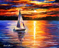 sunset over the lake original oil painting on canvas by leonid afremov 24