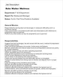 sample general waiter job description template in pdf waiter job description