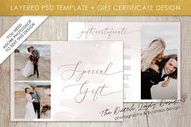 Photography Gift Certificate Template Photo Gift Card Template For Adobe Photoshop Layered Psd Template