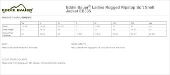 Eddie Bauer Womens Jacket Size Chart Eddie Bauer Ladies Rugged Ripstop Soft Shell Jacket Eb535