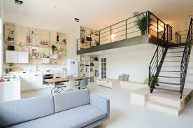 stables converted loft apartment living room