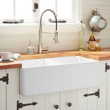 33 Reinhard Double Bowl Fireclay Farmhouse Sink White Kitchen