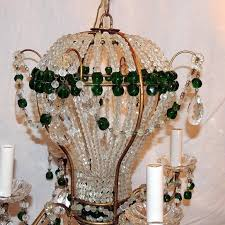italian wonderful pair emerald green beaded crystal hot air balloon chandelier fixtures for