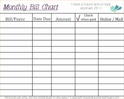 Bill Organizer Chart printable charts for bills monthly bill organizer chart Printable 1