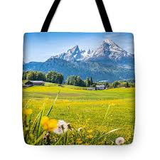 Beautiful Austrian Mountain Landscape With Flowers And Idyllic Farm Houses Tote Bag