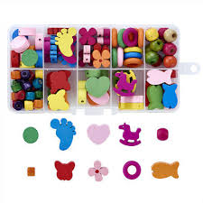 <b>1Box Mixed Shapes</b> Cute Wood Wooden Beads Children Kids Craft ...