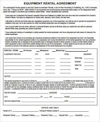 7+ Equipment Rental Agreement Samples | Sample Templates