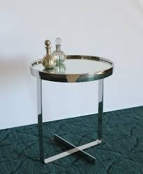 et315la small round chrome end table with mirror top