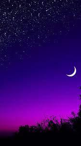 Moon Tree Starry Sky Night Stars Dark ...