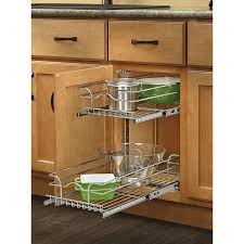 Tiered Shelves For Cabinets Shop Rev A Shelf 1175 In W X 19 In H Metal 2 Tier Pull Out