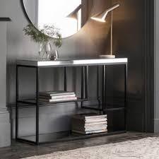 zurl glass top console table black