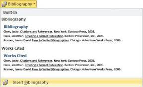 apa mla chicago automatically format bibliographies word click insert bibliography