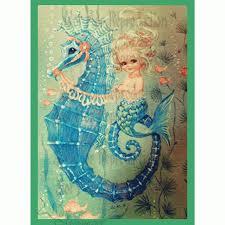 MERBABY-MERBABIES 1950's Retro Baby Mermaid Quilt Fabric Block ... & MERBABY-MERBABIES 1950's Retro Baby Mermaid Quilt Fabric Block Cotton  illustration 5 ... Adamdwight.com
