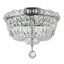 empire collection 4 light chrome finish and clear crystal flush mount ceiling light 12 d x 9 h round small