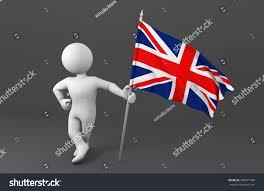 cartoon holding flag of england united kingdom