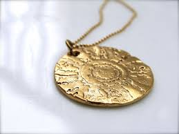 custom made exotic gold necklace stamped gold pendants