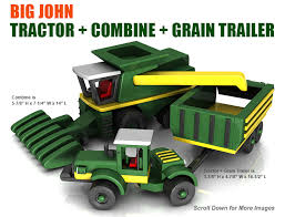 build the big john tractor combine trailer full size wood toy plan set