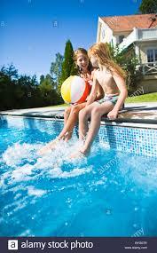 Blonde teen pool indoor
