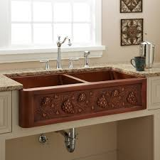 tuscan double bowl copper farmhouse sink kitchen drainboard sink full size