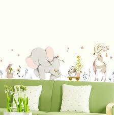 lively forest cute animals rabbit elk happy baby elephant wall sticker kids nursery baby room decor ej