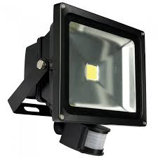 50w ip65 led outdoor garden security pir detector floodlight black