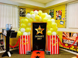 pictures office decorations. Movie Classroom, Popcorn Theme Hollywood Classroom Decor, Themed Parties, Outdoor Nights, Office Decorations, Pictures Decorations