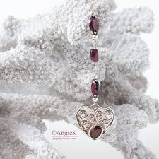 garnet heart sterling silver lariat style y necklace