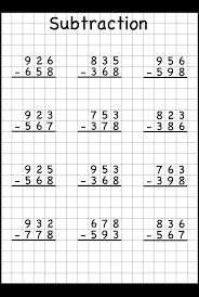 3 Digit Borrow Subtraction – Regrouping – 5 Worksheets / FREE ...