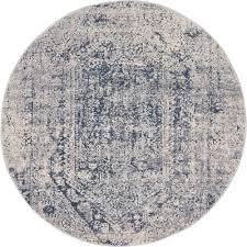 unique loom cau gray 4 x 4 round rug