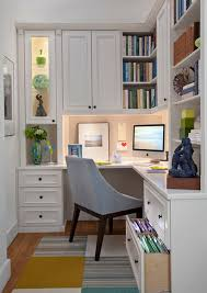 office area design. Custom Crafted Wooden Home Office Area With Glass Shelves: I Like The Cabinets In Office. Design