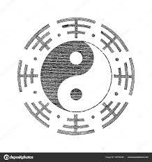 Yin Yang Symbol Pro Ruční Tetování Vintage Stock Fotografie