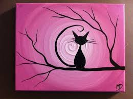 Easy paintings on canvas Thereadingwench 17 Inspire Yourself To Create An Image Of Black Cat Sitting On Dry Homesthetics 19 Easy Canvas Painting Ideas To Take On Homesthetics Inspiring