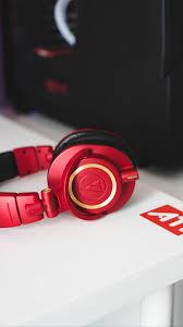Download Wallpaper 938x1668 Headphones Audio Red Style