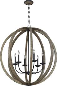 feiss f3186 6wow af allier weathered oak wood antique forged iron chandelier light loading zoom
