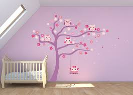 girls cute owl tree wall decal