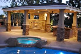 outdoor fireplace kitchen tv