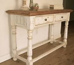 antique white sofa table. Farmhouse Style Console Table. Distressed White Paint, Light Stain On Top. By Analia Pastori Interior Design Antique Sofa Table I