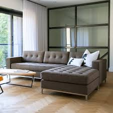 Living Room Chaise Lounges Minimalist Living Room Design With Brown Tufted Sectional Chaise