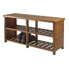 shoe rack bench in teak finish
