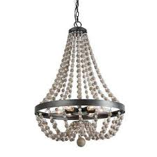 6 light black 20 in wood bead empire bohemian lighting chandelier